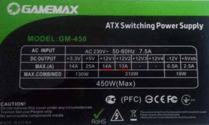 Блок питания GameMax GM450 450W, наклейка с характеристиками