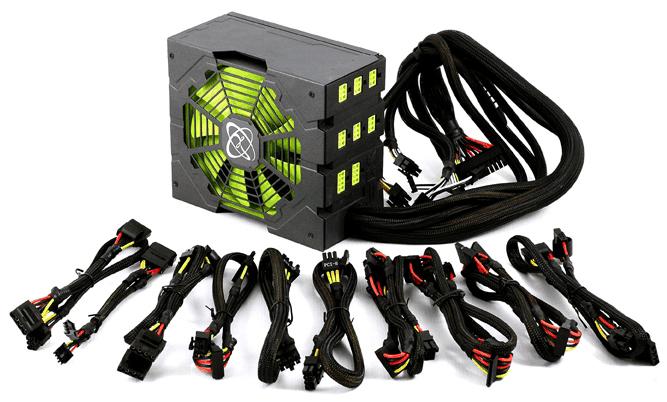 Блок питания с модульными проводами и зеленым кулером